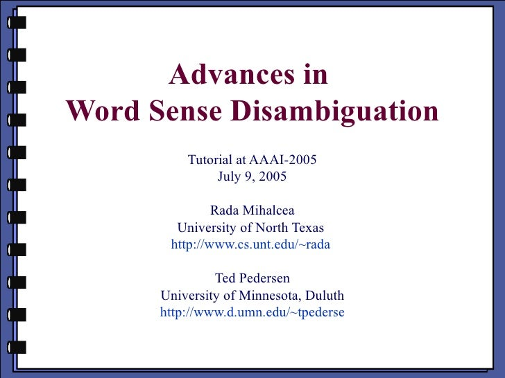 Advances In Wsd Aaai 2005