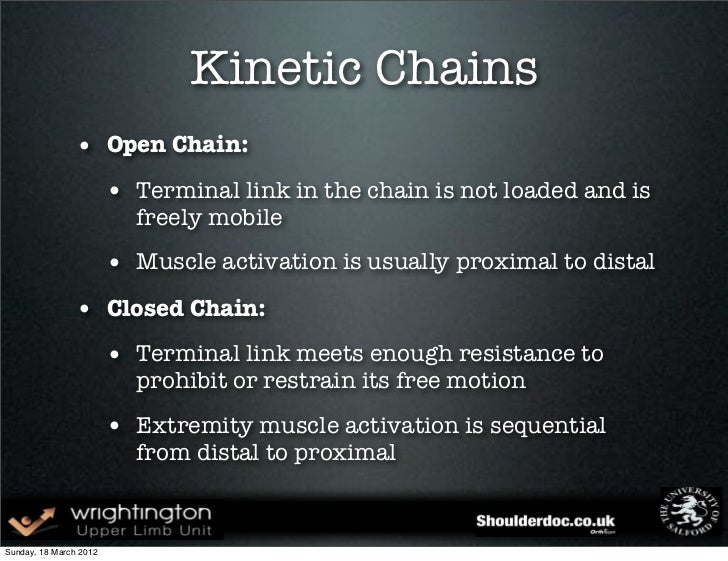 Kinetic Chains • Open Chain: