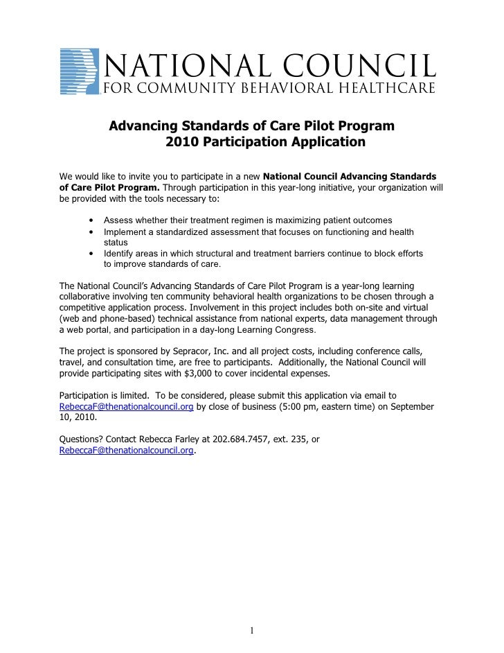 Advancing Standards of Care Pilot Program                     2010 Participation Application  We would like to invite you ...