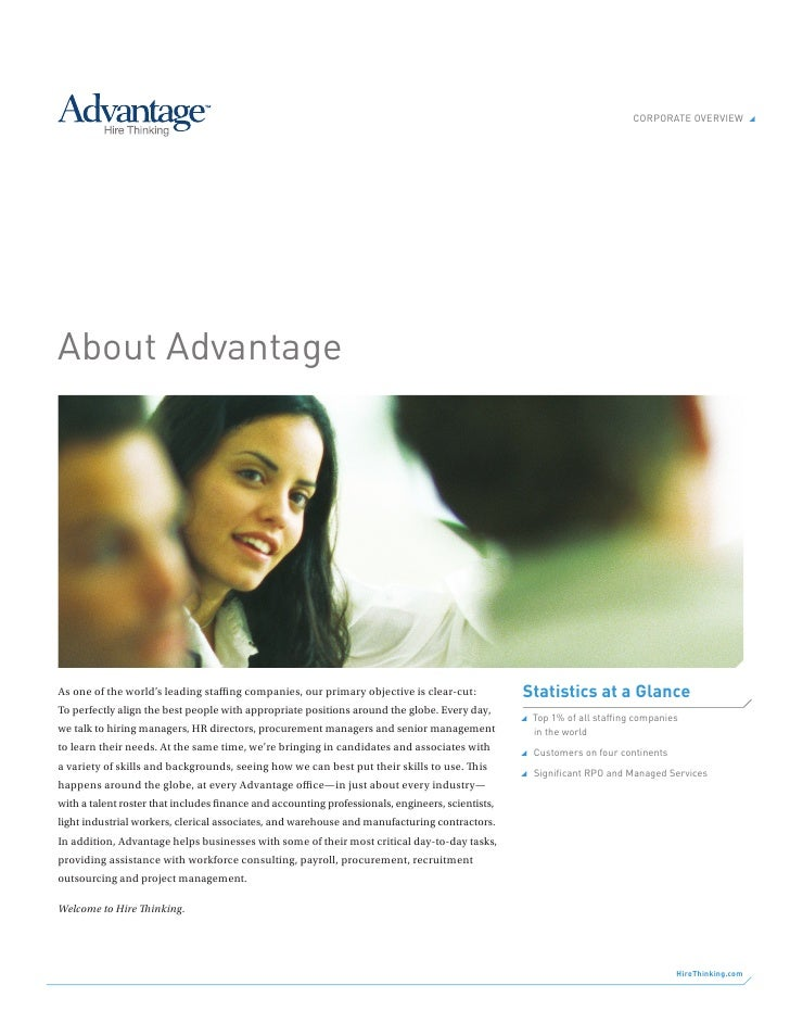 Corporate overview                 about advantage     As one of the world's leading staffing companies, our primary obje...