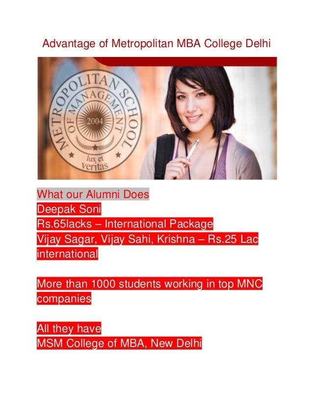 Advantage of Metropolitan MBA College Delhii