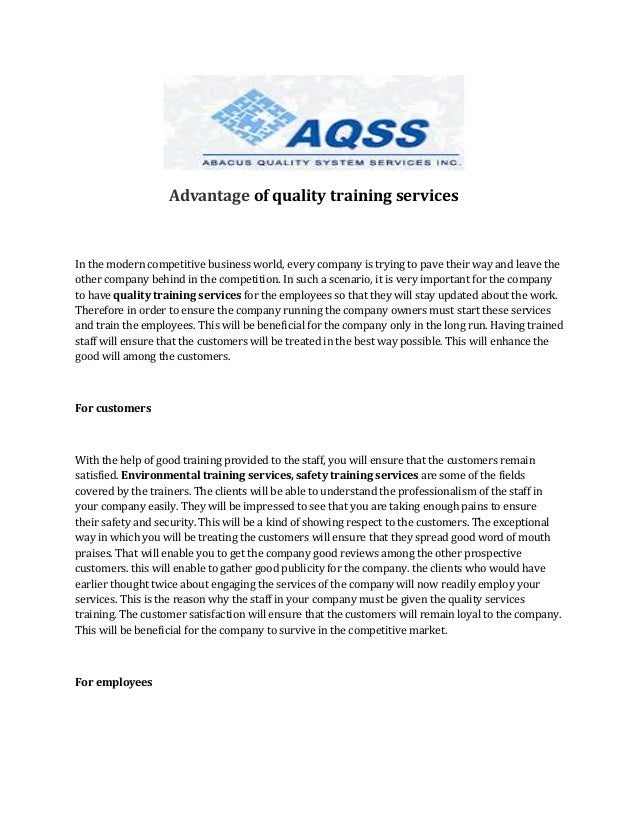 Advantage of quality training services