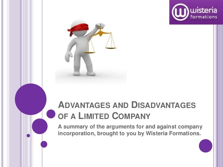 Advantages and Disadvantages of a Limited Company <br />A summary of the arguments for and against company incorporation, ...