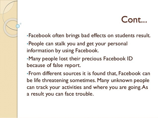 thesis on effects of facebook