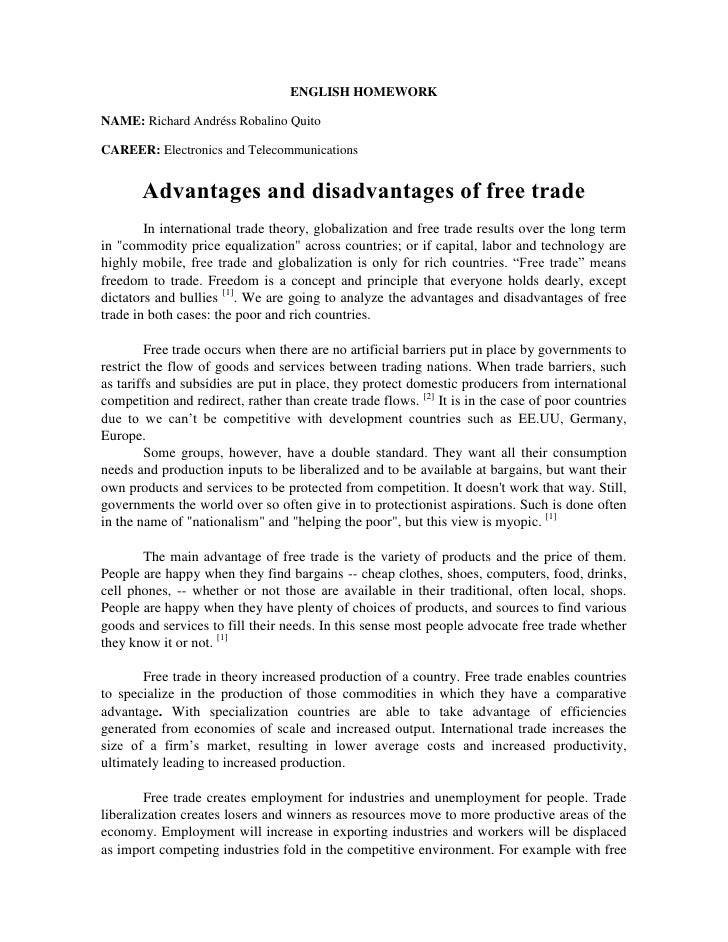 free trade advantages disadvantages essay