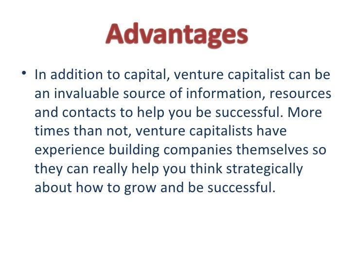 Advantages and disadvantages of venture capital