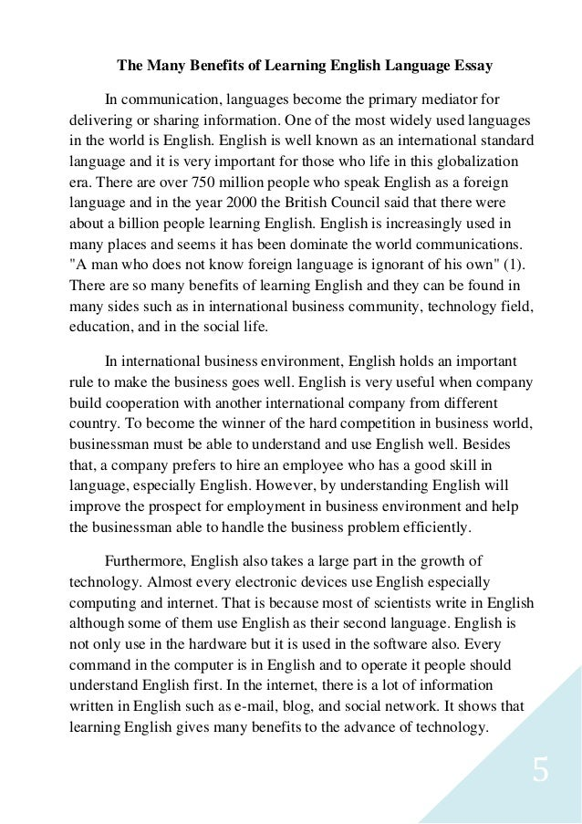 Writing about advantage of learning english