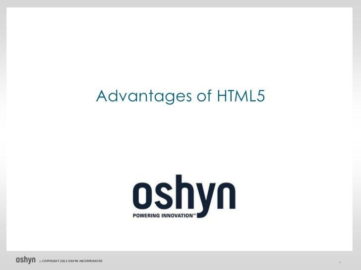 Advantages of HTML5