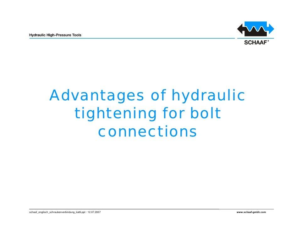 Advantages of hydraulic                  tightening for bolt                     connections     schaaf_englisch_schrauben...