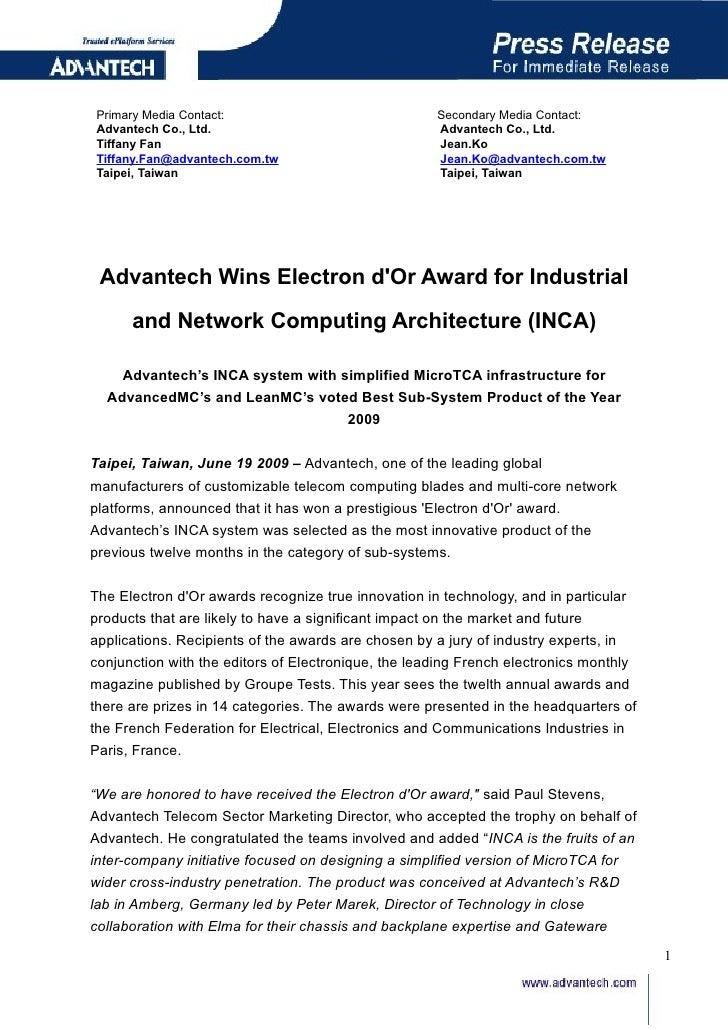 Advantech Wins Electron D Or Award