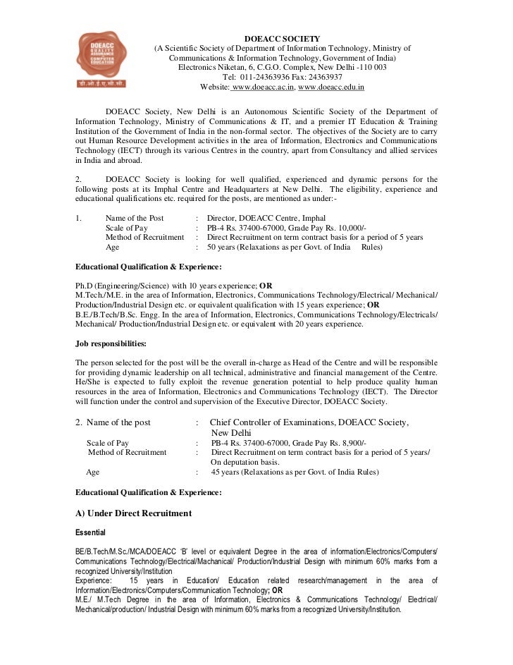 DOEACC SOCIETY                         (A Scientific Society of Department of Information Technology, Ministry of         ...