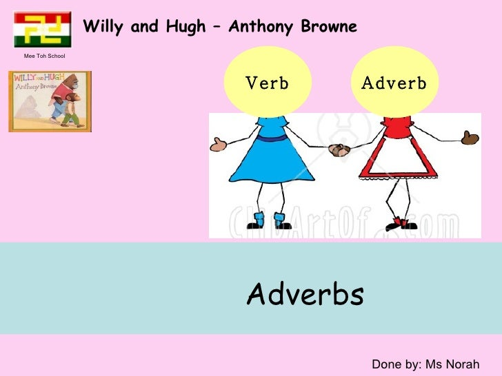 Adverbs  Willy and Hugh – Anthony Browne  Done by: Ms Norah Verb Adverb Mee Toh School