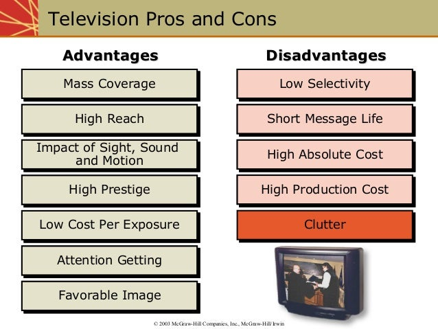 essay on pros and cons of television Skvl sportovn vkony a zlat teka na 09 essay about pros and cons of television 12 2015 here's my full essay for the 'positive or negative development' question that we.