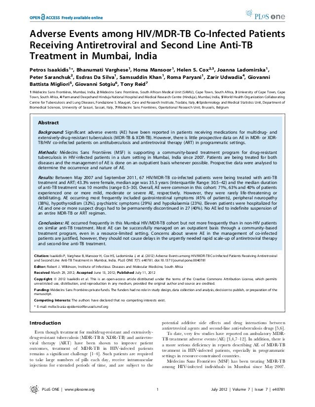 Adverse Events among HIV/MDR-TB Co-Infected Patients Receiving Antiretroviral and Second Line Anti-TB Treatment in Mumbai,...