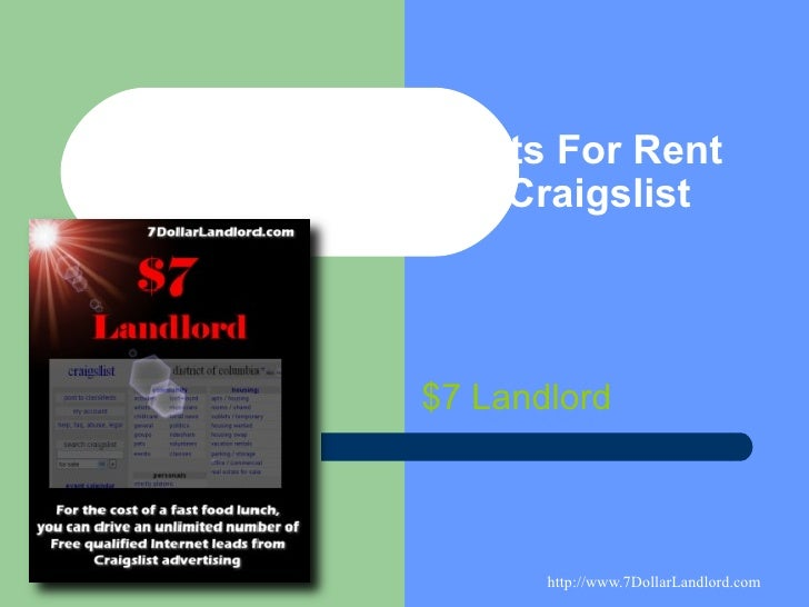 Advertise Apartments For Rent and For Free with Craigslist $7 Landlord