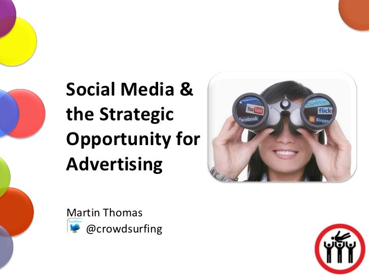 Social Media & the Strategic Opportunity for Advertising Martin Thomas @crowdsurfing