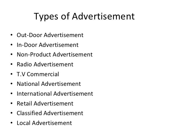 types of advertising media essay Social media advertising becoming central to marketing detail later in this essay nevertheless, social media advertising is types of wants and needs.