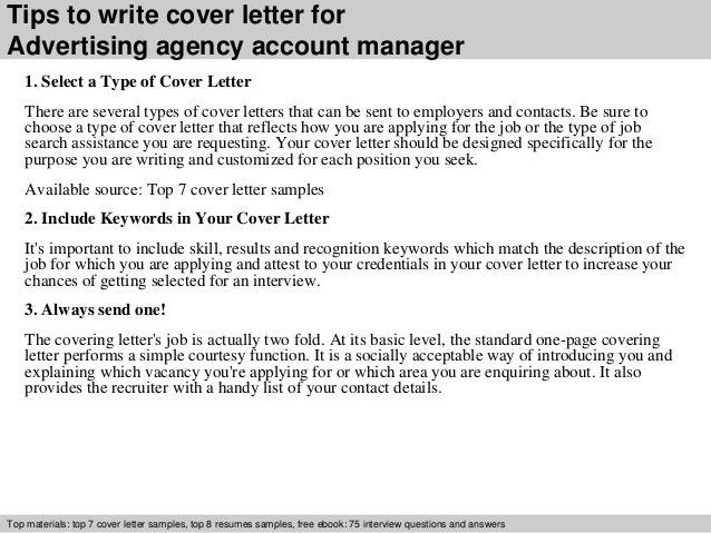 Cover Letter Template For Agency Advertising Agency Account Manager Cover Letter