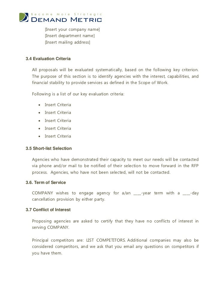Advertising agency rfp template for Advertising agency pitch