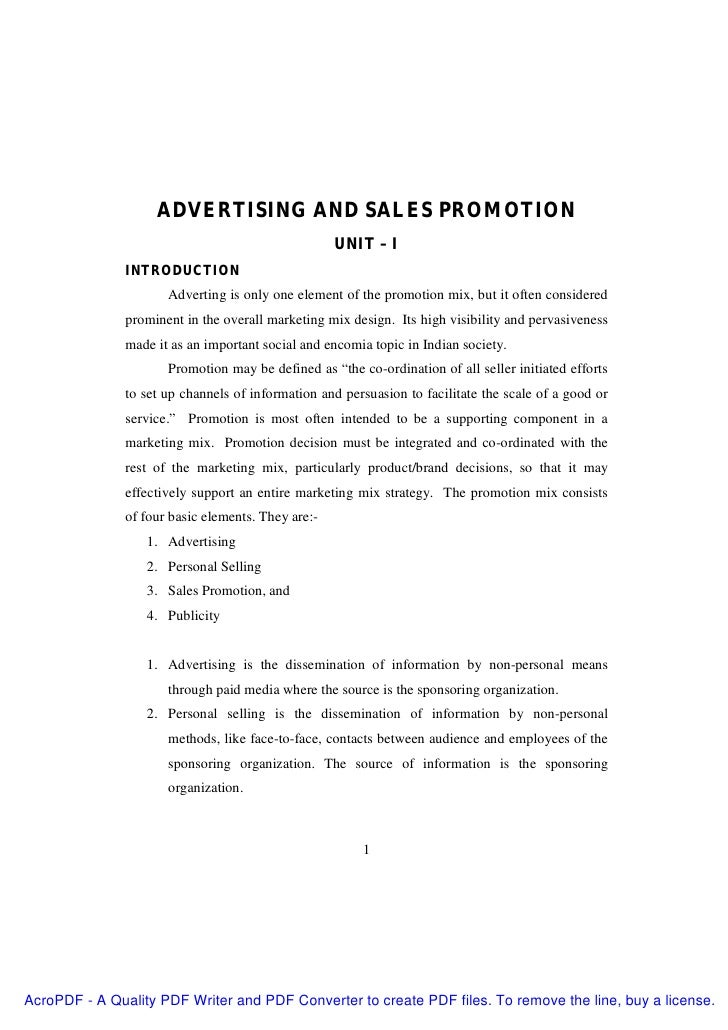 ADVERTISING AND SALES PROMOTION                                                    UNIT – I               INTRODUCTION    ...