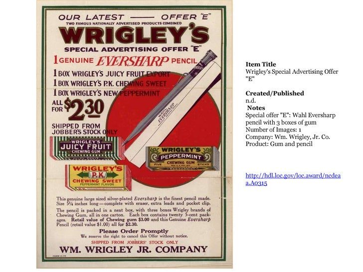 "Item TitleWrigley's Special Advertising Offer ""E""Created/Publishedn.d. NotesSpecial offer ""E"": Wa..."