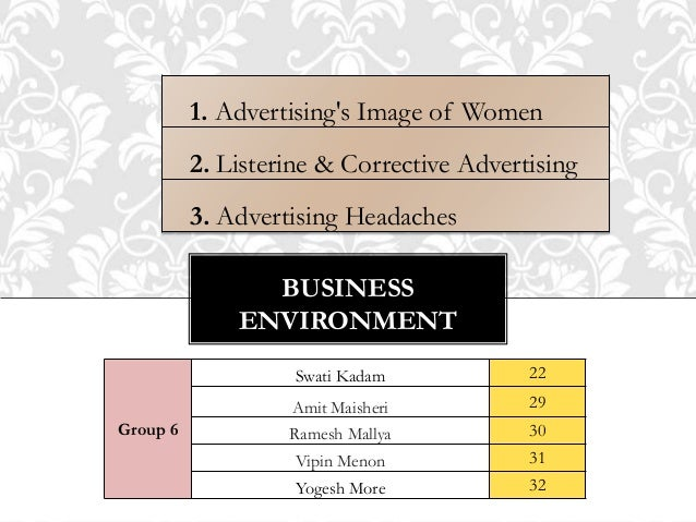BUSINESS ENVIRONMENT 1. Advertising's Image of Women 2. Listerine & Corrective Advertising 3. Advertising Headaches Group ...