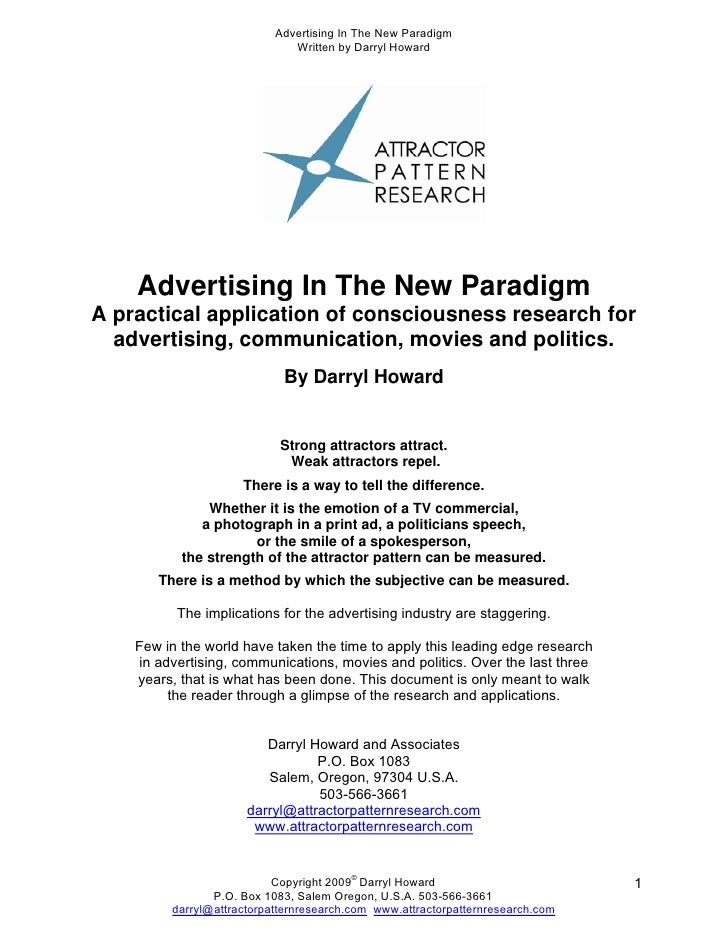 Advertising In The New Paradigm                               Written by Darryl Howard         Advertising In The New Para...