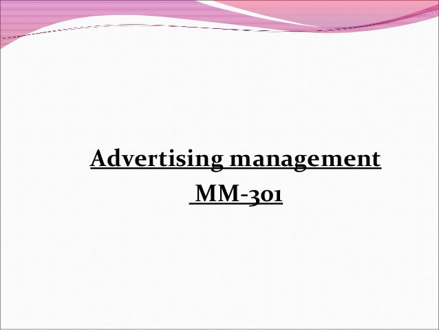 Advertising management MM-301