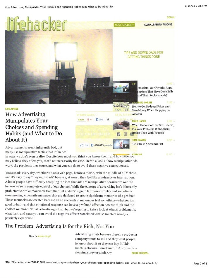 How Advertising Manipulates Your Choices and Spending Habits (and What to Do About It)                                    ...