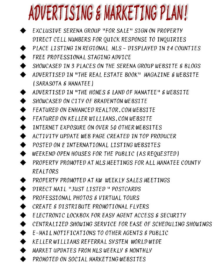 real estate marketing plan sample