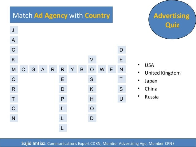 Match Ad Agency with Country Advertising Quiz • USA • United Kingdom • Japan • China • Russia M C AG RR Y B WO NE E D U S ...