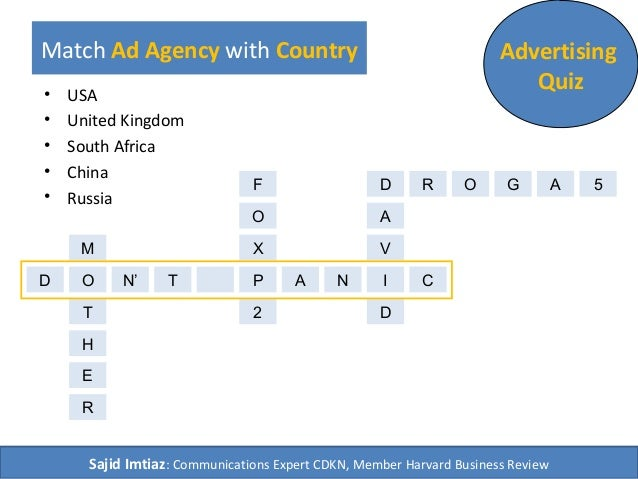 Match Ad Agency with Country Advertising Quiz• USA • United Kingdom • South Africa • China • Russia D O TN' AP N I C Sajid...
