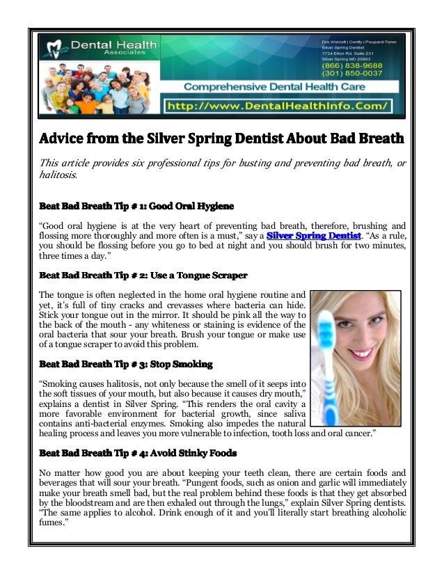 AdviceAdviceAdviceAdvice fromfromfromfrom thethethethe SilverSilverSilverSilver SpringSpringSpringSpring DentistDentistDen...