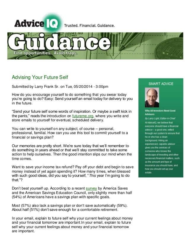 Advice iq advising your future self