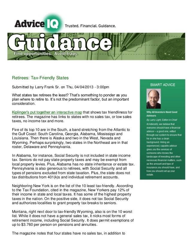Advice iq retirees, tax friendly states