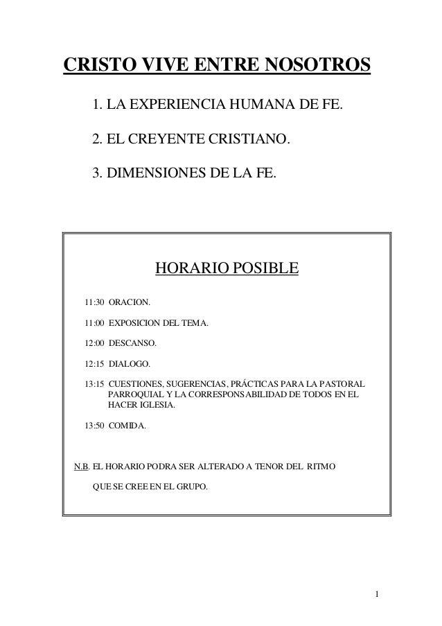 CRISTO VIVE ENTRE NOSOTROS   1. LA EXPERIENCIA HUMANA DE FE.   2. EL CREYENTE CRISTIANO.   3. DIMENSIONES DE LA FE.       ...