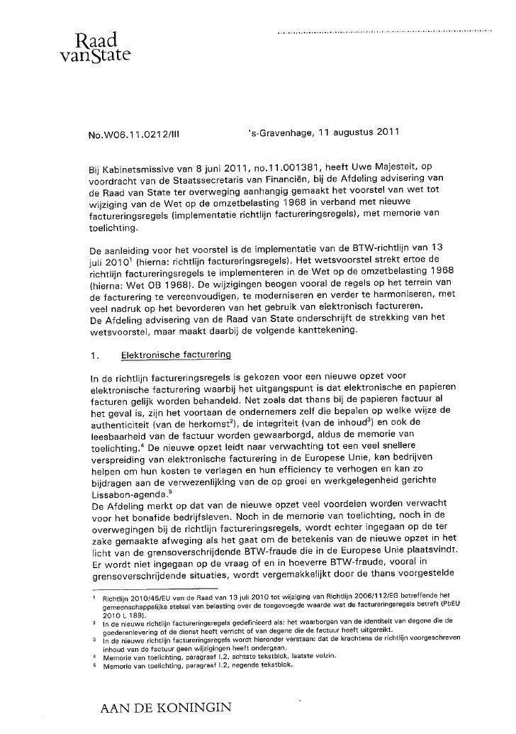 Advies raad van state implementatie richtlijn factureringsregels