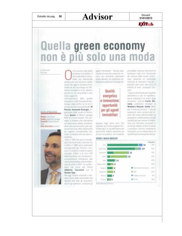 Quella GREEN ECONOMY non è più solo una moda