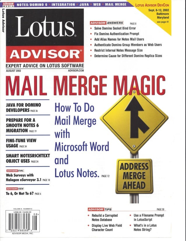 Lotus Advisor - August 2002 - Mail Merge Magic