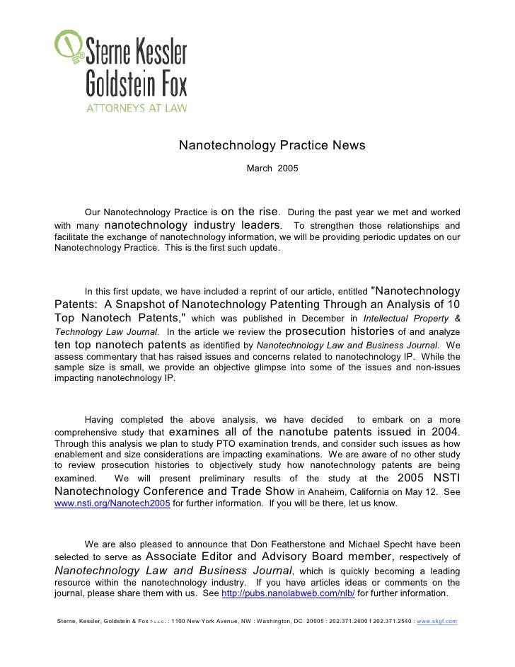 Nanotechnology Practice News                                                                 March 2005             Our Na...