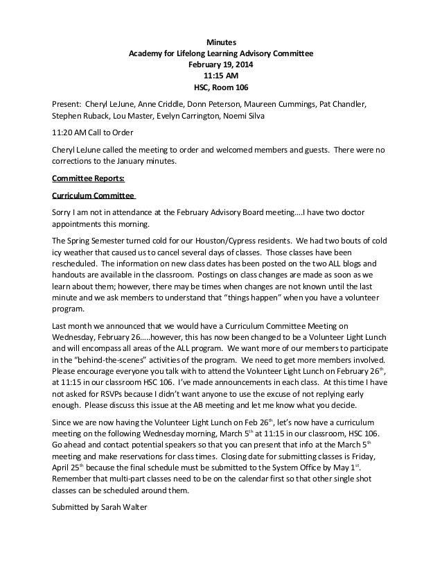 Advisory board minutes   february 2014