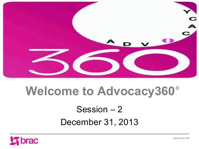 Welcome to Advocacy360° Session – 2 December 31, 2013 www.brac.net