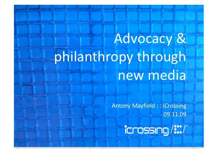 Advocacy And Philanthropy Through New Media