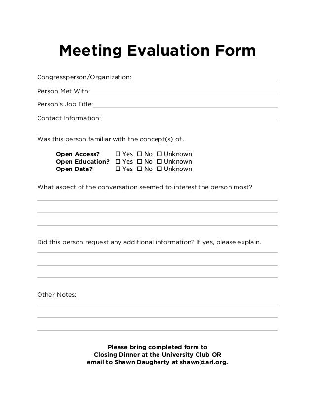 Meeting Evaluation Form Congressperson/Organization: Person Met With ...