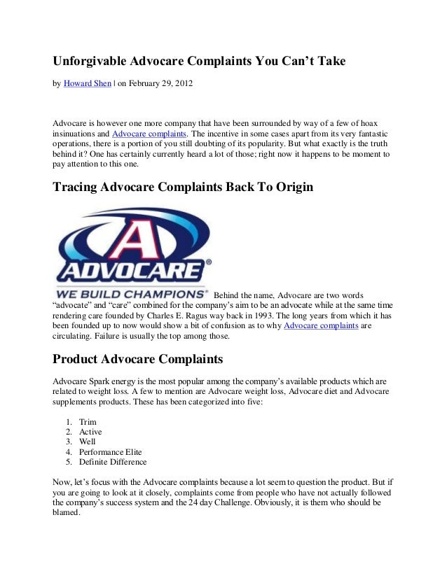 Unforgivable Advocare Complaints You Can't Takeby Howard Shen | on February 29, 2012Advocare is however one more company t...
