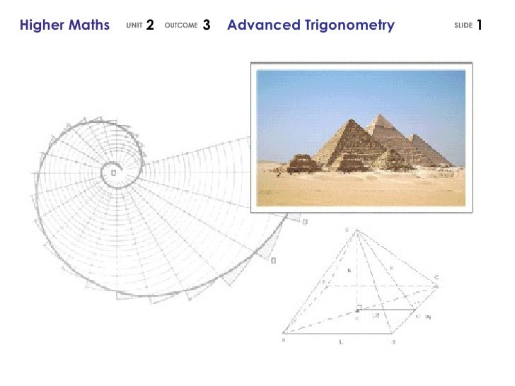 Higher Maths  2  3  Advanced Trigonometry UNIT OUTCOME SLIDE