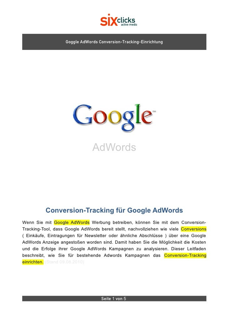 Goggle AdWords Conversion-Tracking-Einrichtung                                     AdWords               Conversion-Tracki...