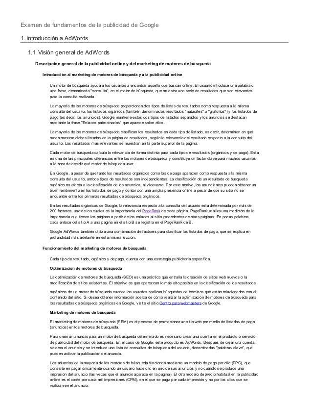 Examen de fundamentos de la publicidad de Google1. Introducción a AdWords1.1 Visión general de AdWordsDescripción general ...