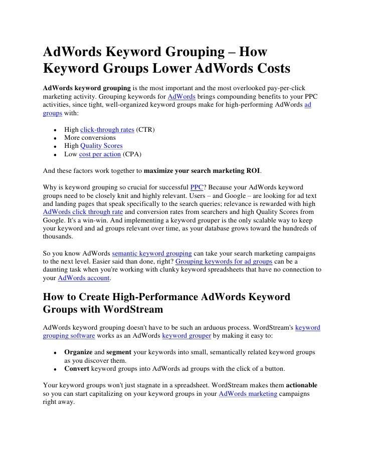 Adwords Keyword Grouping