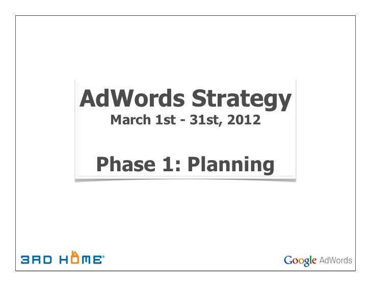 AdWords Strategy  March 1st - 31st, 2012 Phase 1: Planning